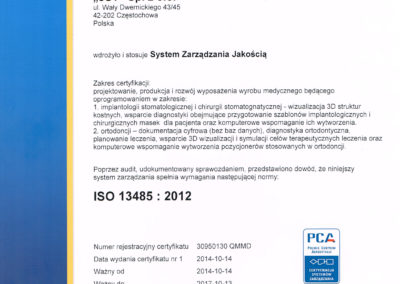 Certificate KLARA ISO 13485