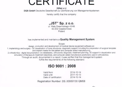 Certificate KLARA ISO 19001 2008