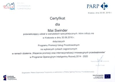 Maja Swinder certificate - medical tourism