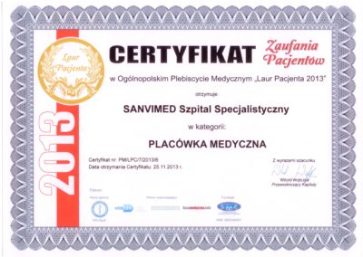 Patients Award Certificate