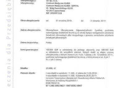 Klara liability insurance policy